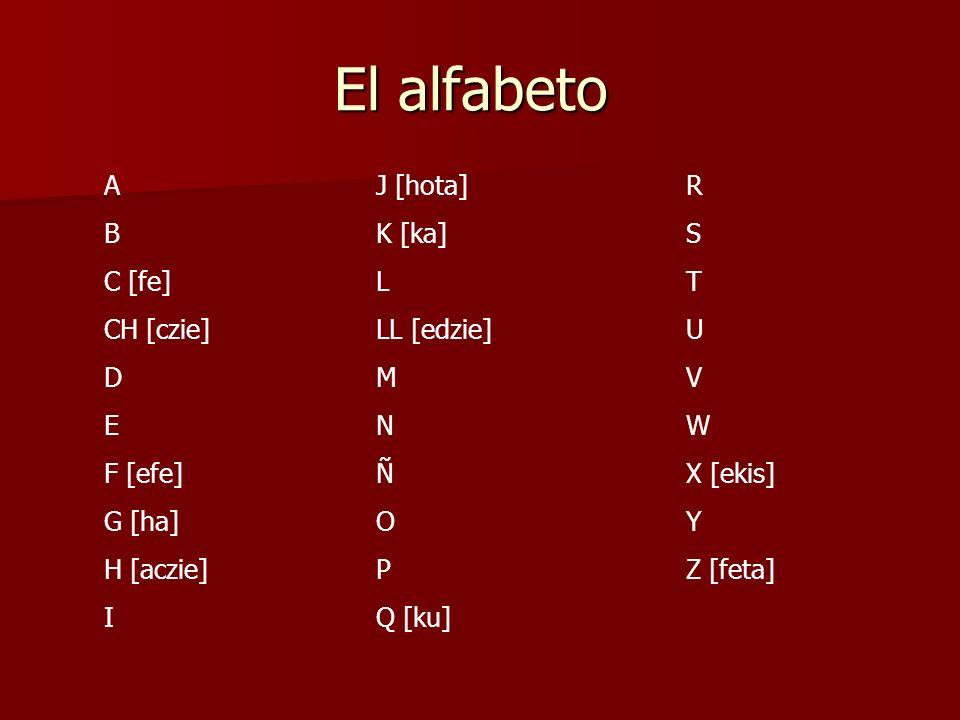 El alfabeto A B C [fe] CH [czie] D E F [efe] G [ha] H [aczie] I